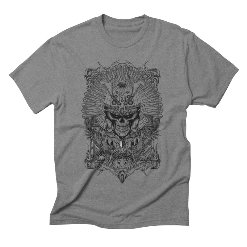 ornamental samurai skull Men's Triblend T-shirt by gupikus's Artist Shop