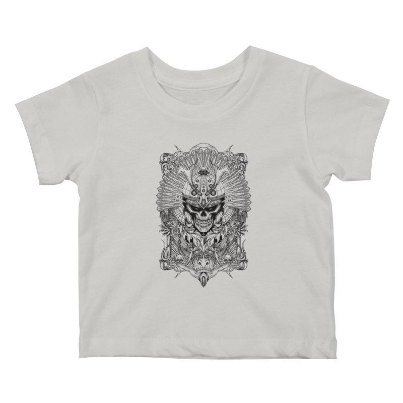 ornamental samurai skull Kids Baby T-Shirt by gupikus's Artist Shop