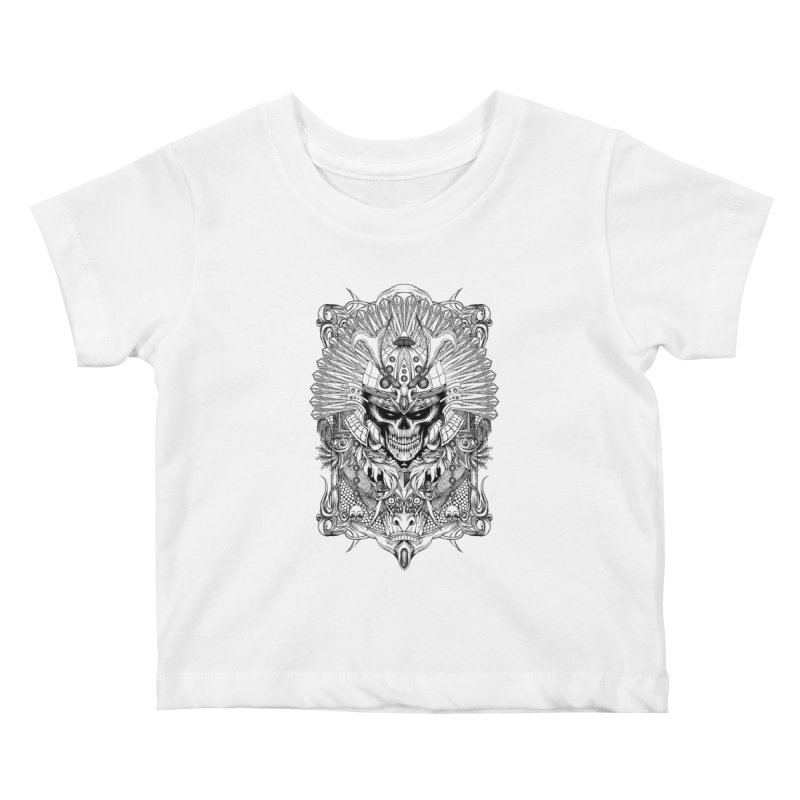 ornamental samurai skull Kids Baby T-Shirt by gupikus's Artist Shop