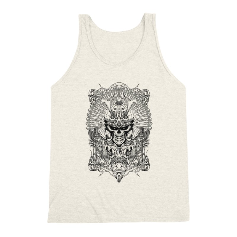 ornamental samurai skull Men's Triblend Tank by gupikus's Artist Shop