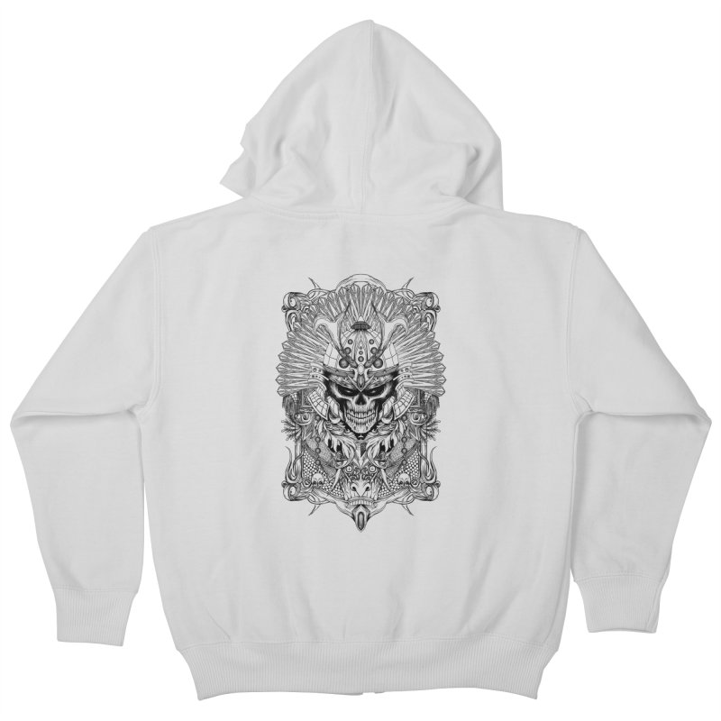 ornamental samurai skull Kids Zip-Up Hoody by gupikus's Artist Shop