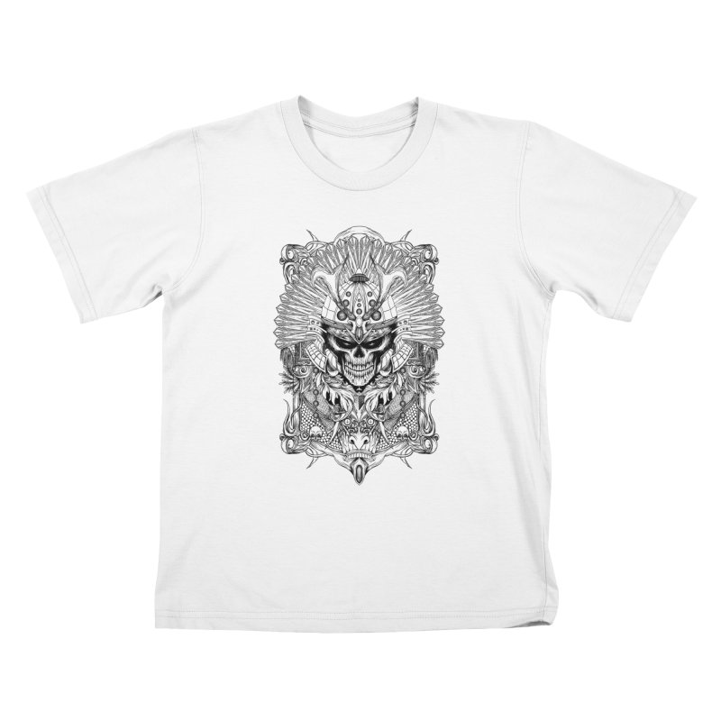 ornamental samurai skull Kids T-Shirt by gupikus's Artist Shop