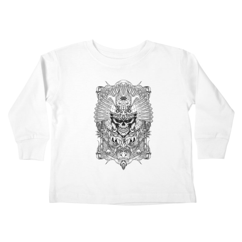 ornamental samurai skull Kids Toddler Longsleeve T-Shirt by gupikus's Artist Shop