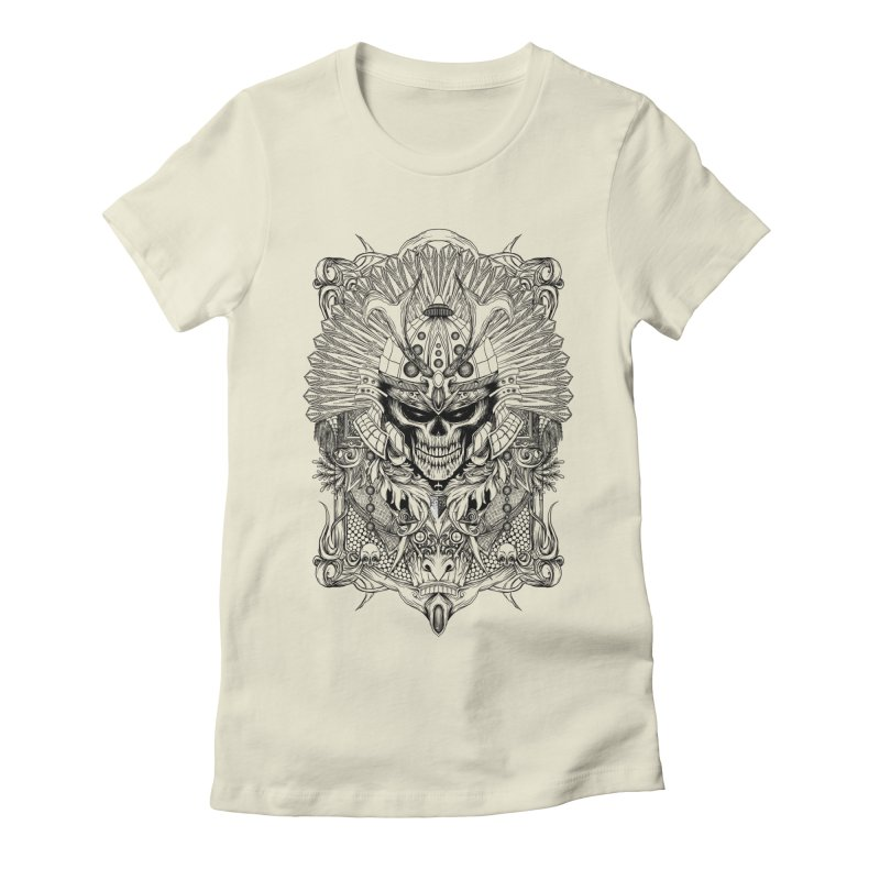 ornamental samurai skull Women's Fitted T-Shirt by gupikus's Artist Shop