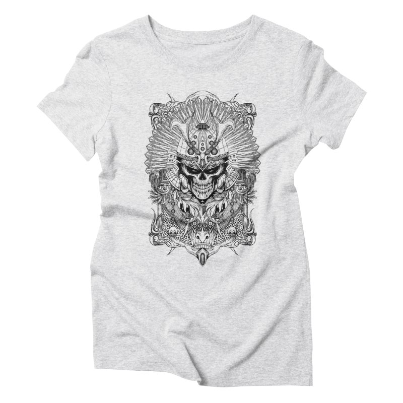 ornamental samurai skull Women's Triblend T-Shirt by gupikus's Artist Shop