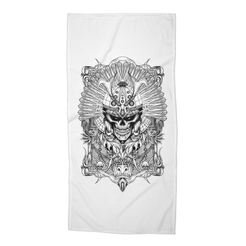 ornamental samurai skull Accessories Beach Towel by gupikus's Artist Shop