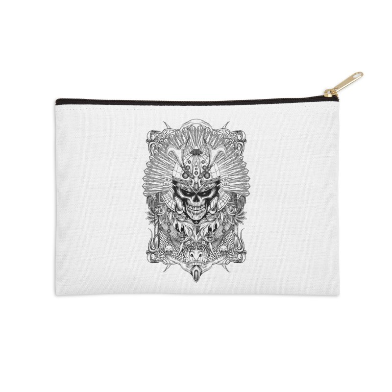 ornamental samurai skull Accessories Zip Pouch by gupikus's Artist Shop