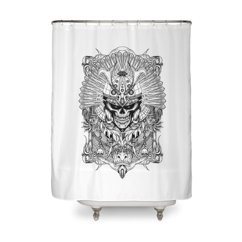 ornamental samurai skull Home Shower Curtain by gupikus's Artist Shop