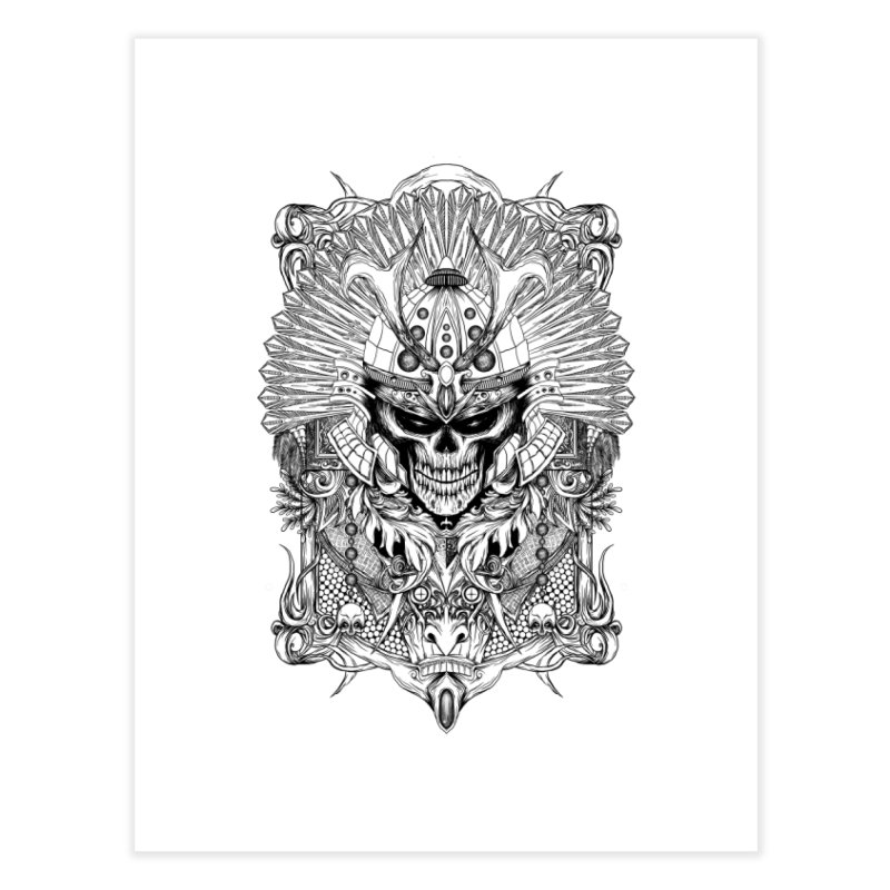 ornamental samurai skull Home Fine Art Print by gupikus's Artist Shop