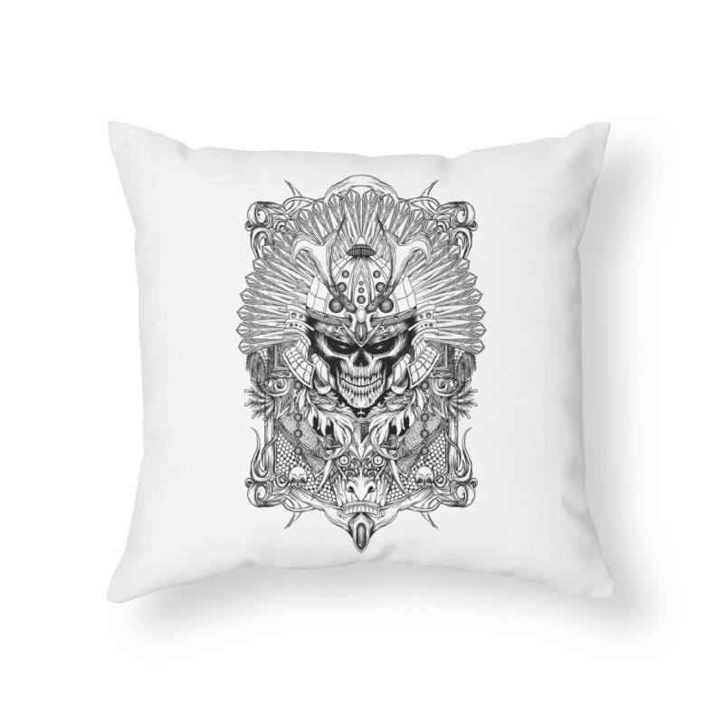 ornamental samurai skull Home Throw Pillow by gupikus's Artist Shop