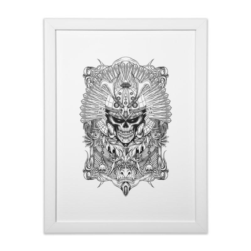 ornamental samurai skull Home Framed Fine Art Print by gupikus's Artist Shop