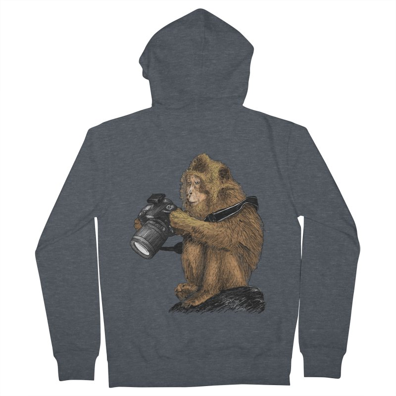 monkey photographer Women's French Terry Zip-Up Hoody by gupikus's Artist Shop