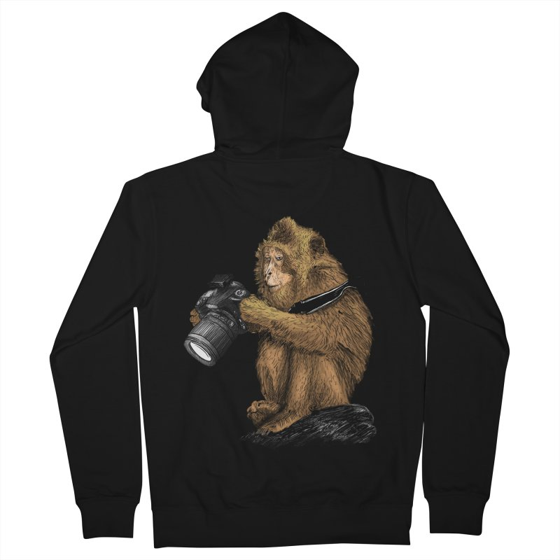 monkey photographer Men's French Terry Zip-Up Hoody by gupikus's Artist Shop