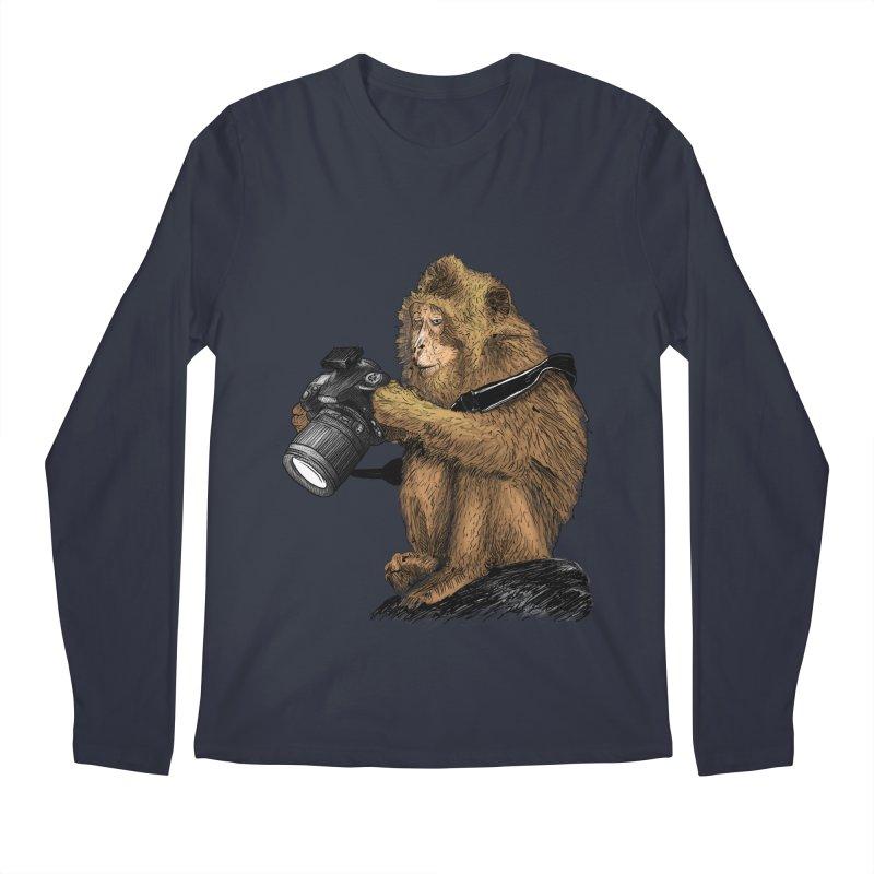 monkey photographer Men's Regular Longsleeve T-Shirt by gupikus's Artist Shop