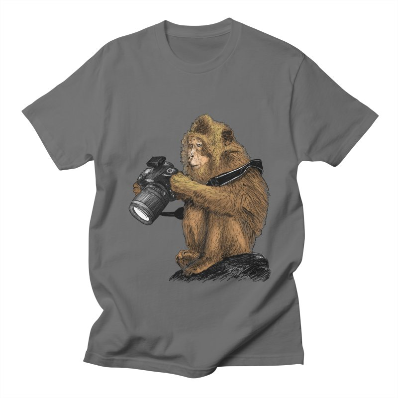 monkey photographer Men's Regular T-Shirt by gupikus's Artist Shop