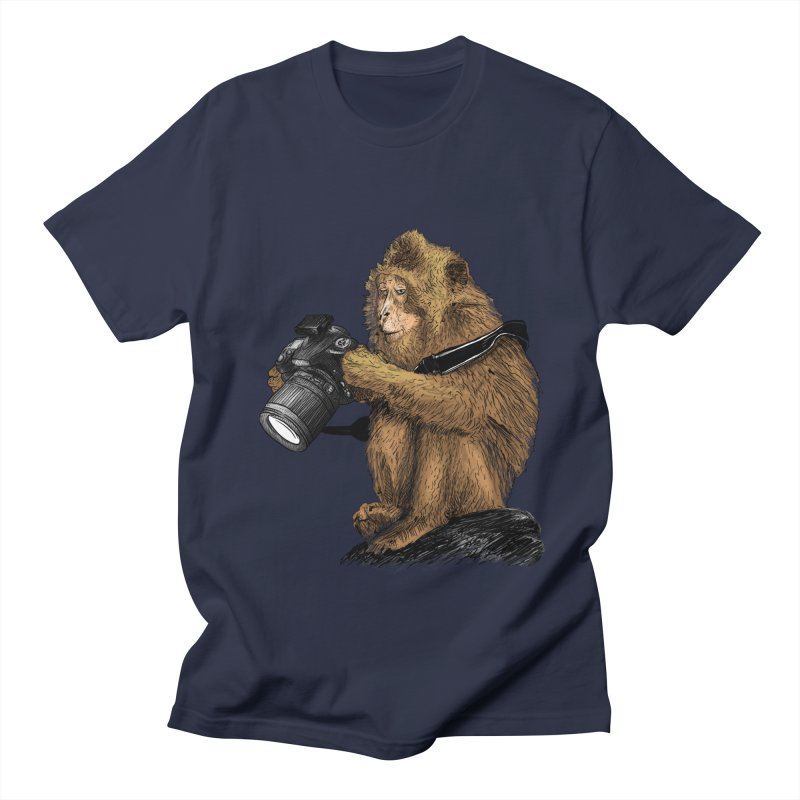 monkey photographer Men's T-shirt by gupikus's Artist Shop