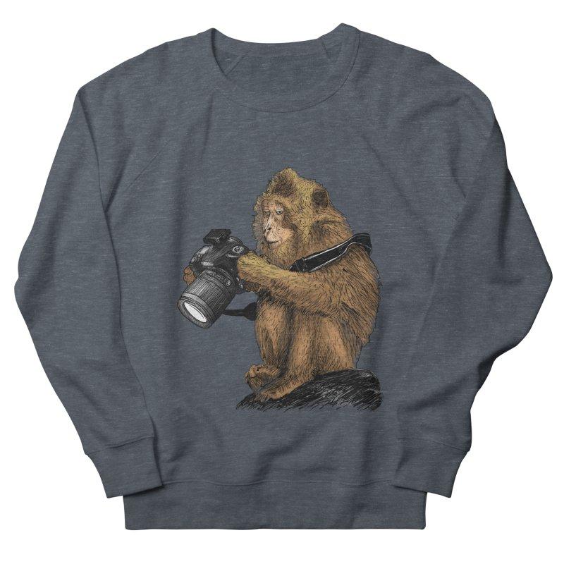monkey photographer Women's French Terry Sweatshirt by gupikus's Artist Shop