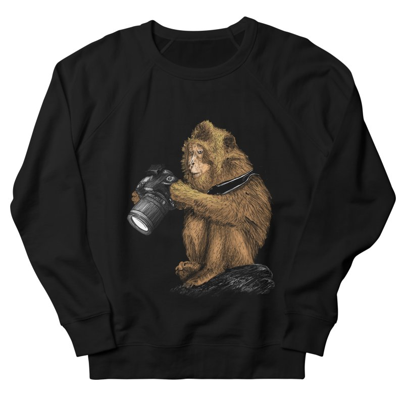 monkey photographer Women's French Terry Sweatshirt by gupikus's Artist Shop