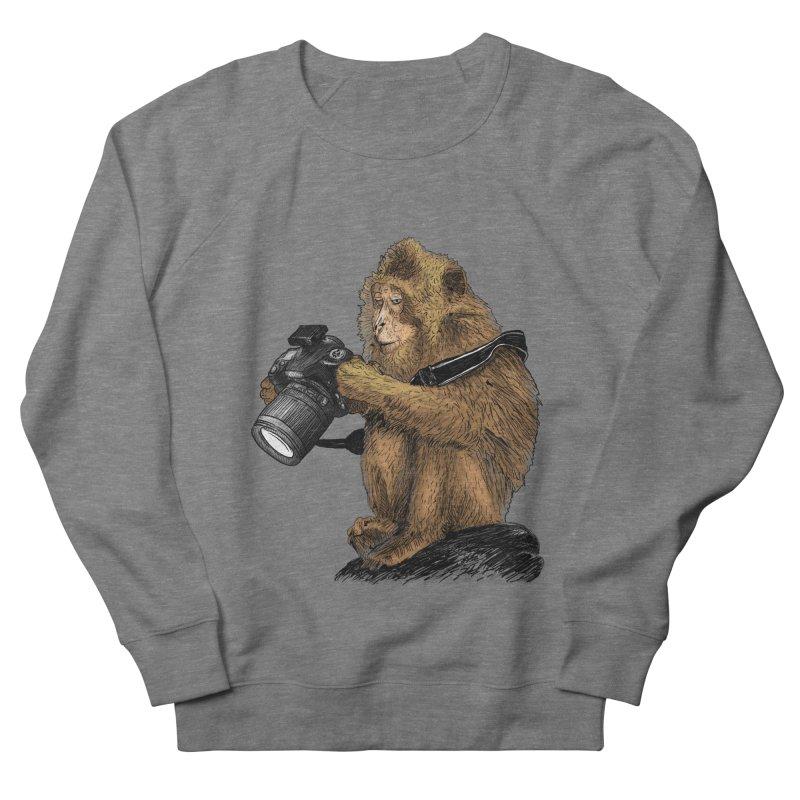 monkey photographer Men's French Terry Sweatshirt by gupikus's Artist Shop
