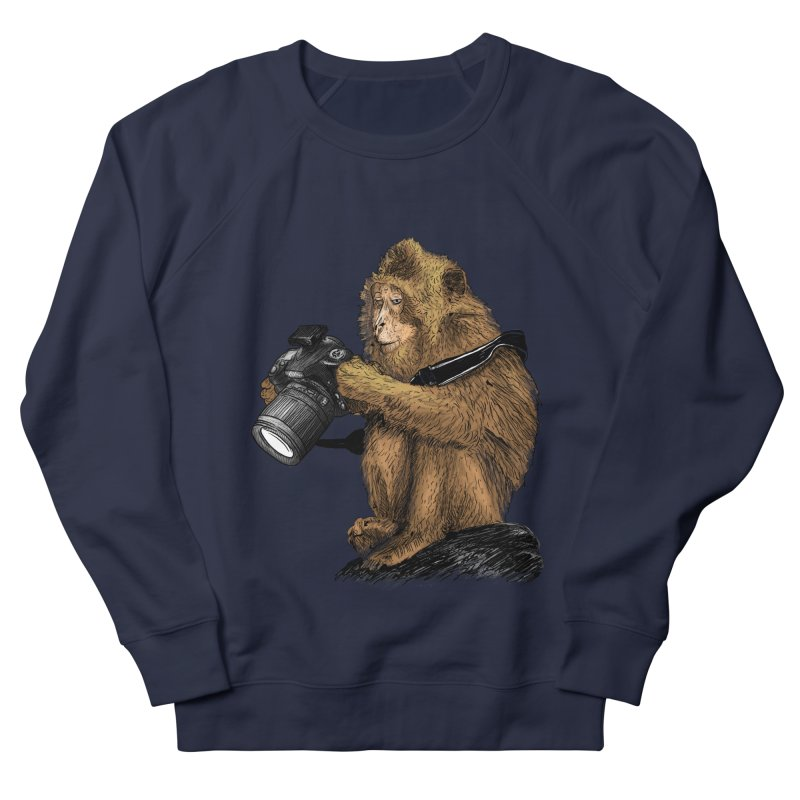 monkey photographer Men's French Terry Sweatshirt by gupikus's Artist Shop