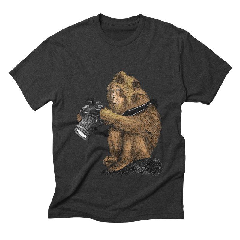 monkey photographer Men's Triblend T-Shirt by gupikus's Artist Shop