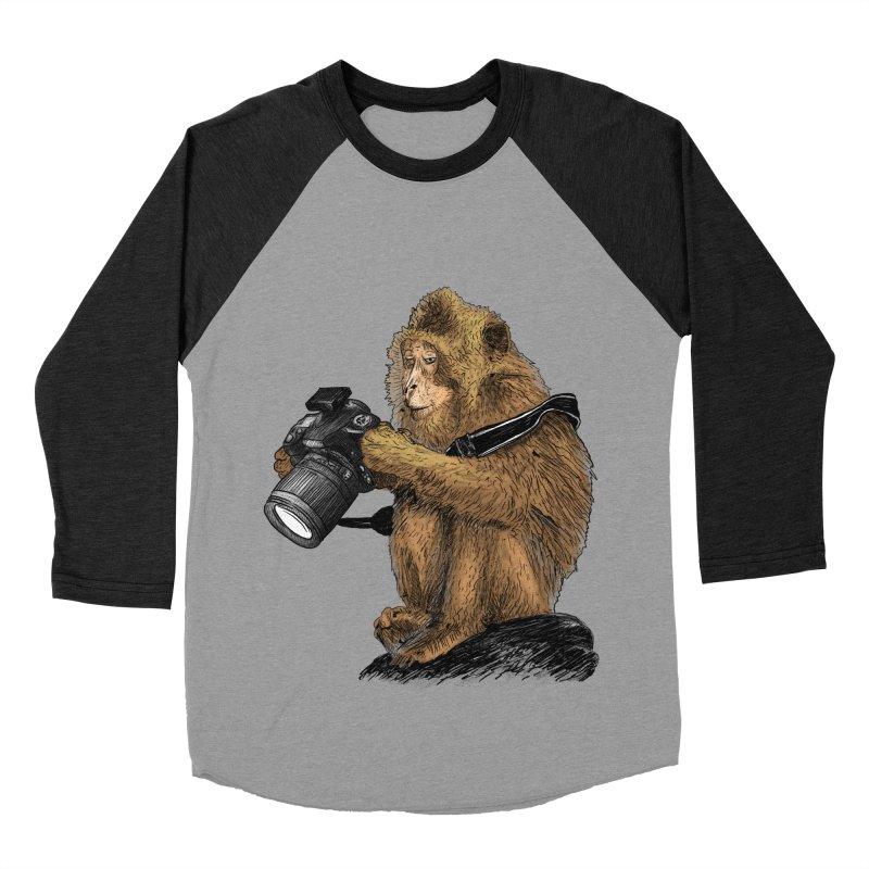 monkey photographer Women's Baseball Triblend T-Shirt by gupikus's Artist Shop