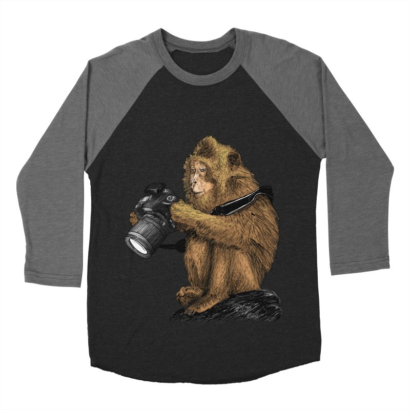 monkey photographer Men's Baseball Triblend T-Shirt by gupikus's Artist Shop