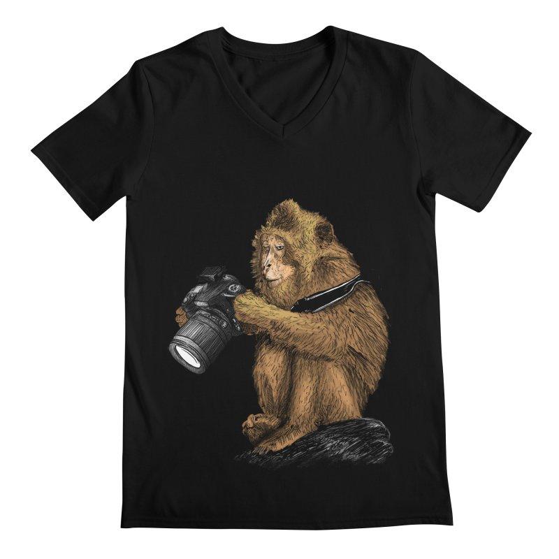 monkey photographer Men's Regular V-Neck by gupikus's Artist Shop