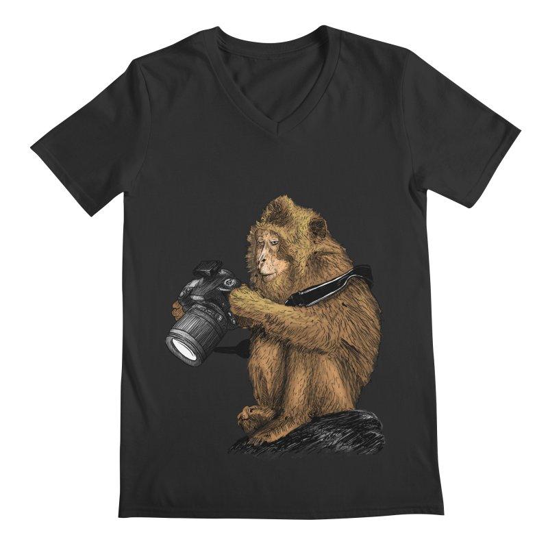 monkey photographer Men's V-Neck by gupikus's Artist Shop
