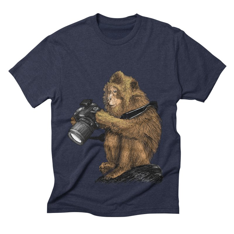 monkey photographer Men's Triblend T-shirt by gupikus's Artist Shop