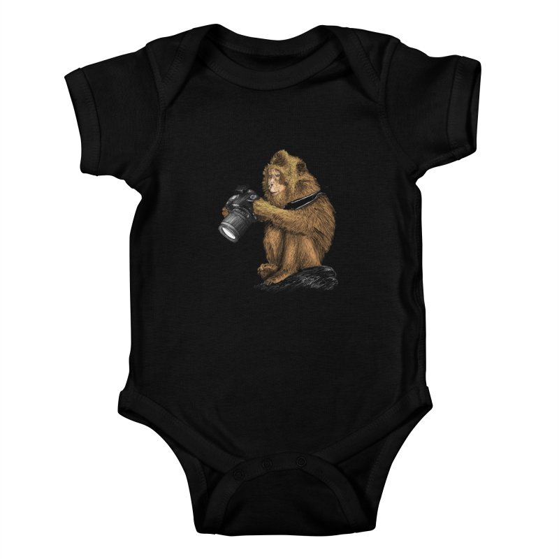 monkey photographer Kids Baby Bodysuit by gupikus's Artist Shop
