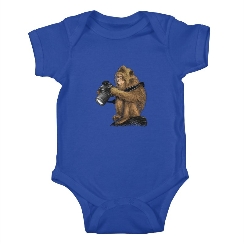 monkey photographer Kids Baby Bodysuit by gupikus's Artist Shop