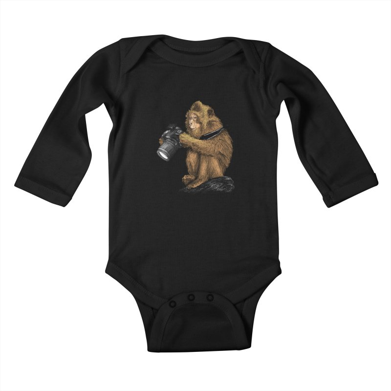 monkey photographer Kids Baby Longsleeve Bodysuit by gupikus's Artist Shop