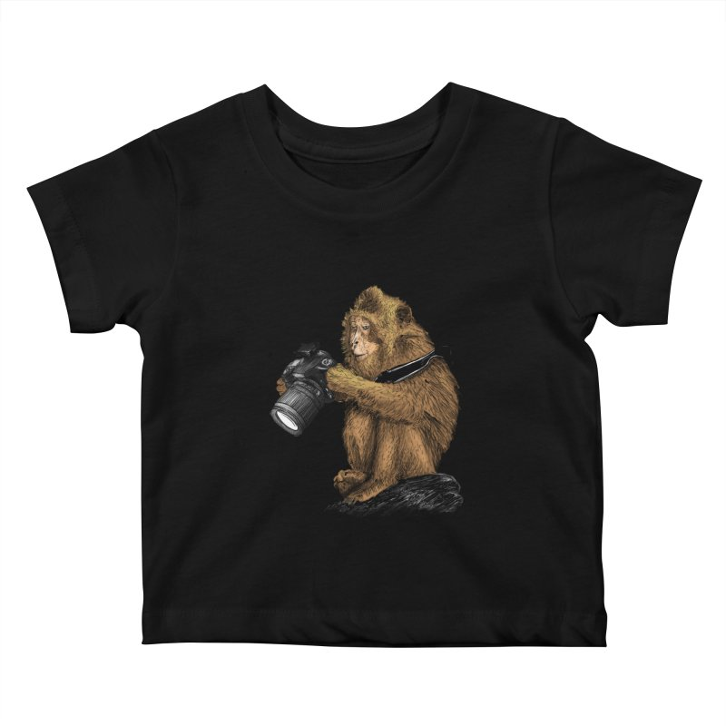 monkey photographer Kids Baby T-Shirt by gupikus's Artist Shop