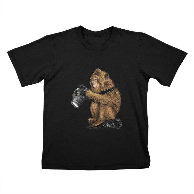 monkey photographer Kids T-Shirt by gupikus's Artist Shop