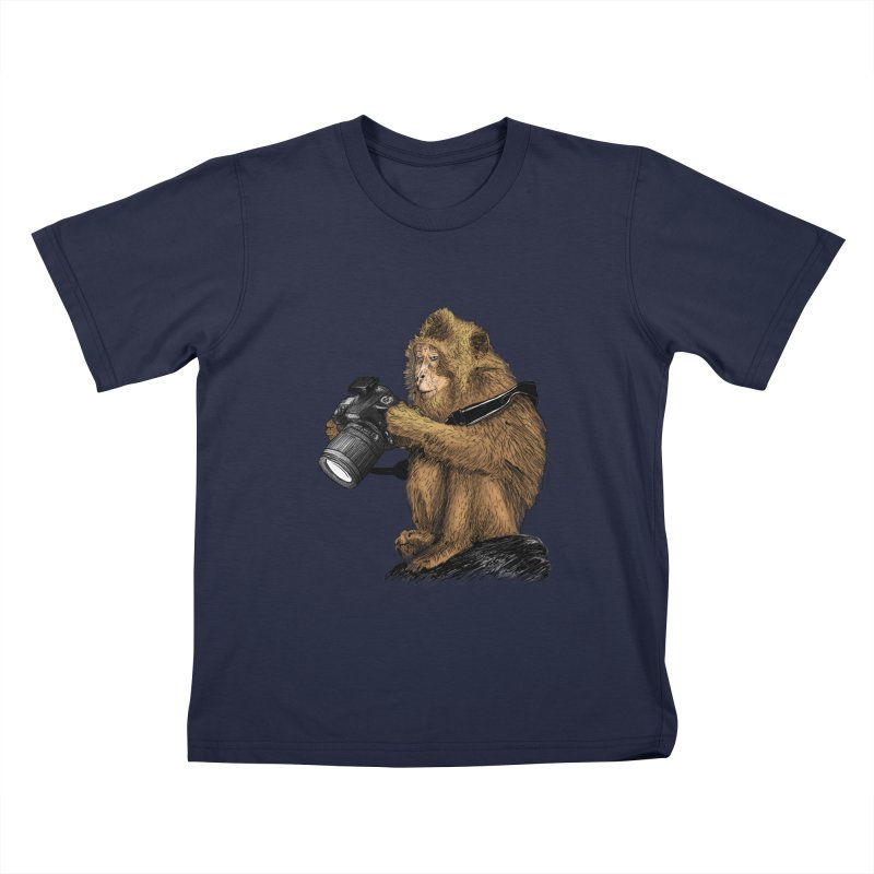 monkey photographer Kids T-Shirt by gupikus's Artist Shop