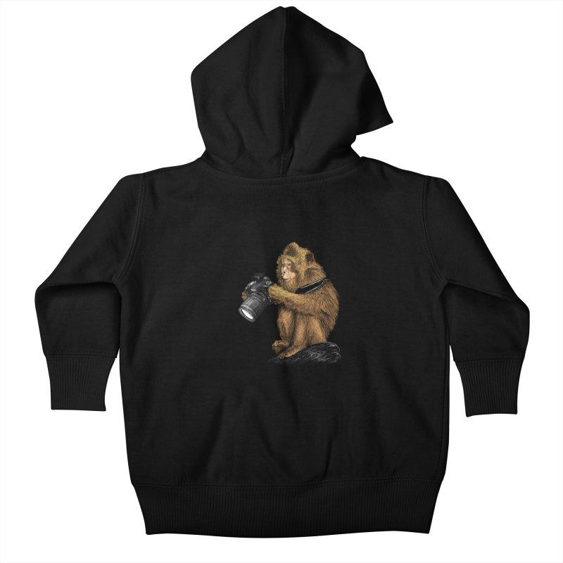 monkey photographer Kids Baby Zip-Up Hoody by gupikus's Artist Shop