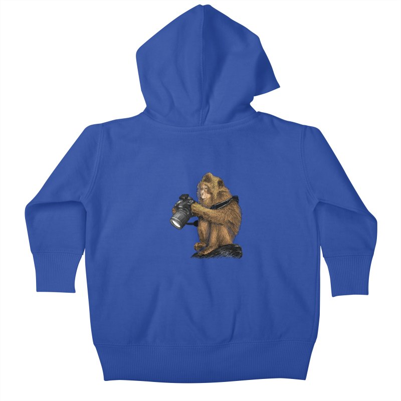 monkey photographer Kids Baby Zip-Up Hoody by gupikus's Artist Shop