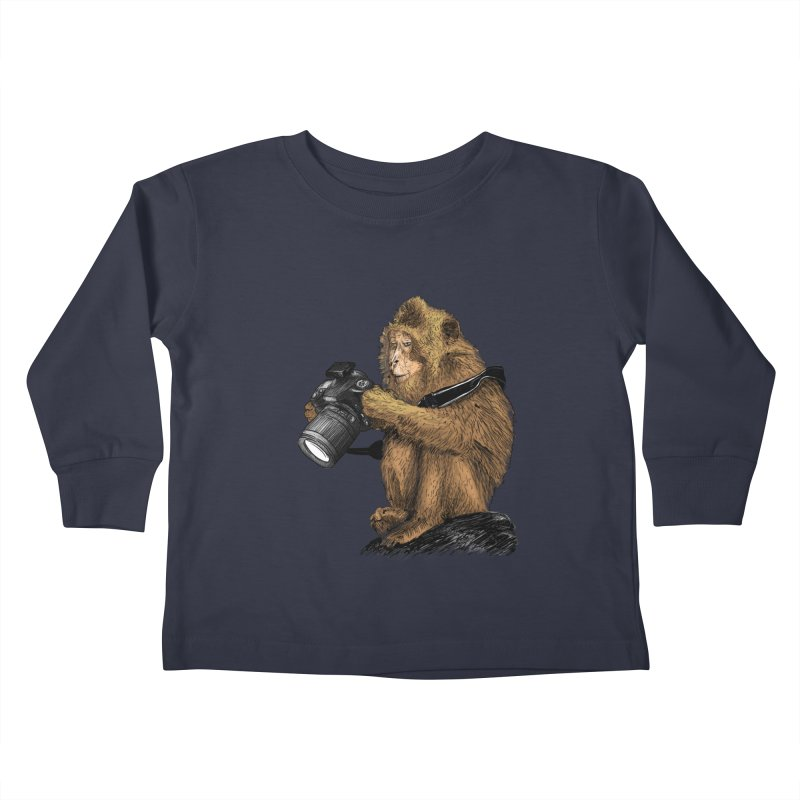 monkey photographer Kids Toddler Longsleeve T-Shirt by gupikus's Artist Shop
