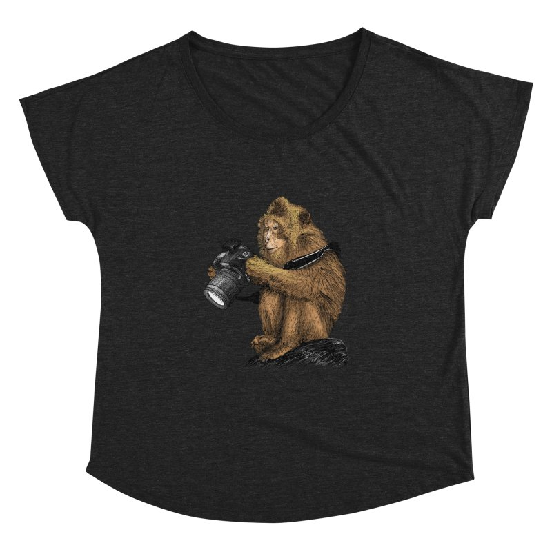 monkey photographer Women's Dolman Scoop Neck by gupikus's Artist Shop