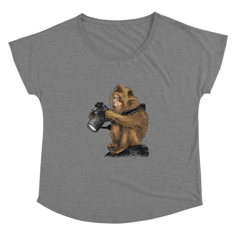 monkey photographer Women's Dolman Scoop Neck by gupikus's Artist Shop