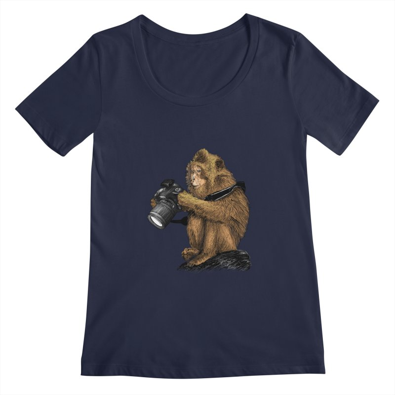 monkey photographer Women's Regular Scoop Neck by gupikus's Artist Shop