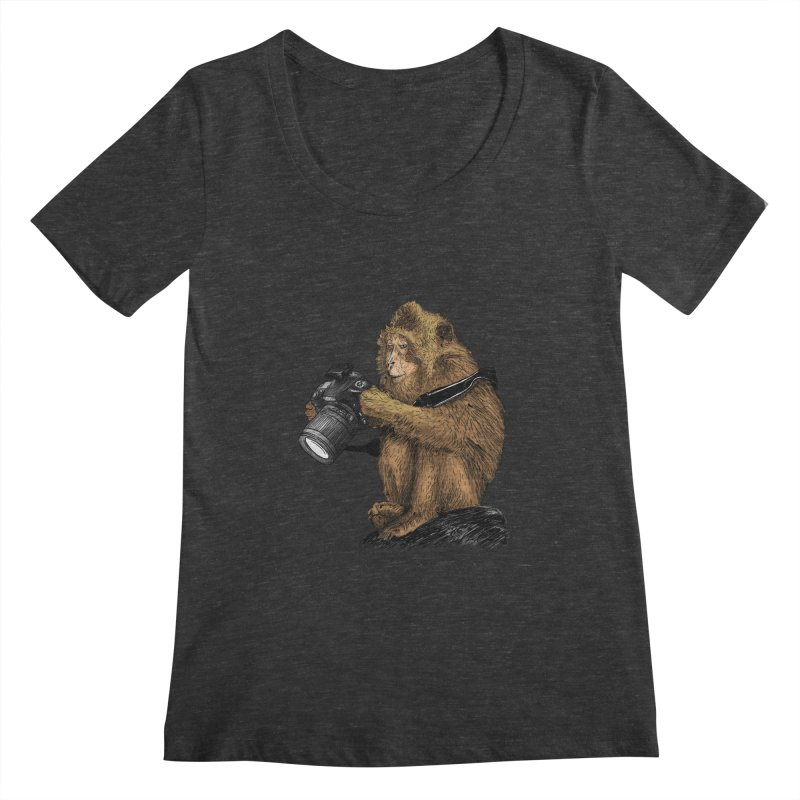 monkey photographer Women's Scoopneck by gupikus's Artist Shop