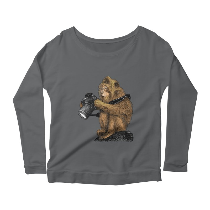 monkey photographer Women's Longsleeve Scoopneck  by gupikus's Artist Shop