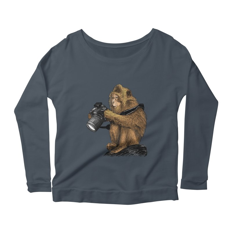 monkey photographer Women's Scoop Neck Longsleeve T-Shirt by gupikus's Artist Shop