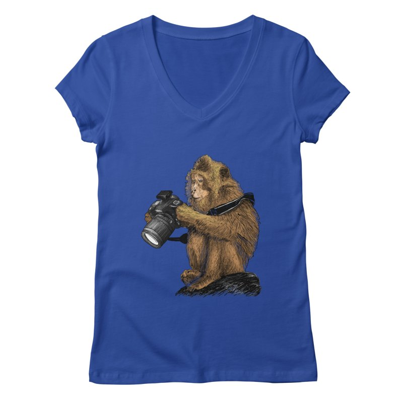 monkey photographer Women's Regular V-Neck by gupikus's Artist Shop