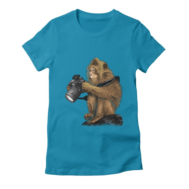 monkey photographer Women's Fitted T-Shirt by gupikus's Artist Shop