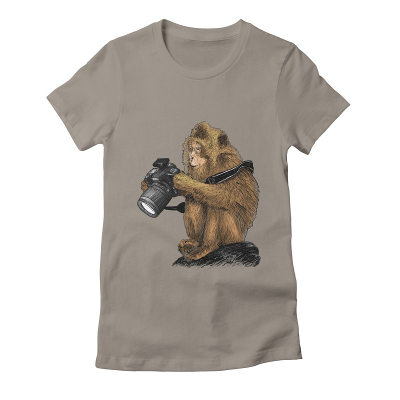 monkey photographer Women's Fitted T-Shirt by gupikus's Artist Shop