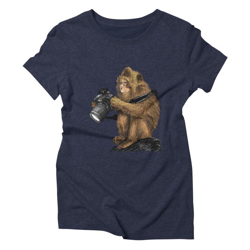 monkey photographer Women's Triblend T-Shirt by gupikus's Artist Shop
