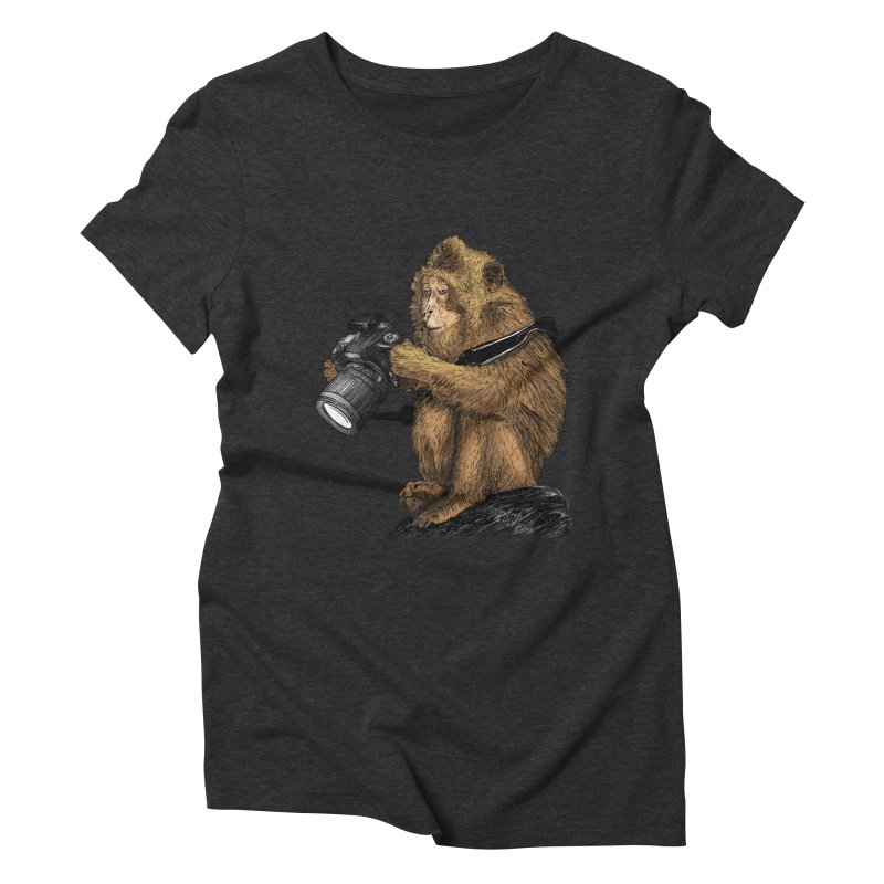 monkey photographer Women's Triblend T-shirt by gupikus's Artist Shop